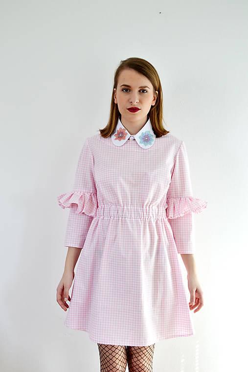 Gingham lolita šaty v ružovej