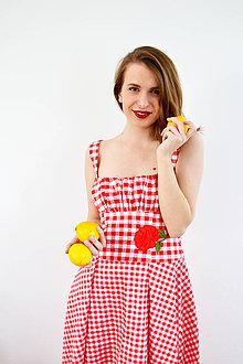 Šaty - Gingham červené šaty s kvetom - 7885839_