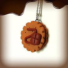 Náhrdelníky - Keksík s čokoládovou polevou - 7885425_