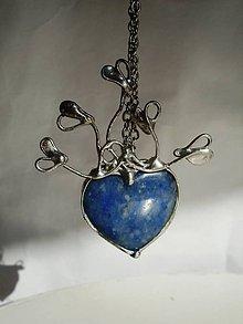 Náhrdelníky - Srdce z modrého kremeňa - tiffany - 7893189_