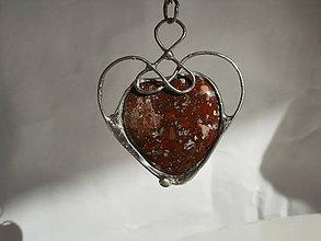 Náhrdelníky - Srdce z jaspisu - tiffany - 7893250_