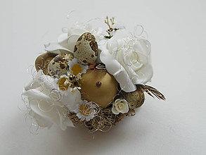 Dekorácie - Veľkonočná dekorácia_zlato biela - 7889474_