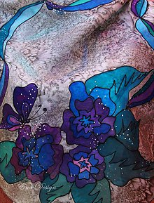 Šatky - Hodvábna šatka - Tajomné motýle - 7890523_