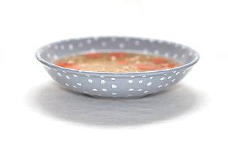 Nádoby - Hlboký šedý tanier - 7889621_