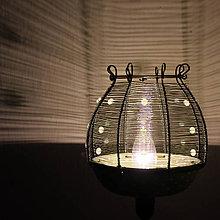 Svietidlá a sviečky - Zelené puntíky lampička... - 7889866_