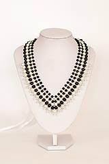 """Náhrdelníky - perlový náhrdelník black & white – """"white-black day"""" - 7889625_"""