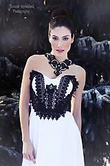 """Náhrdelníky - čipkovaný náhrdelník black & white – """"black day"""" - 7889736_"""