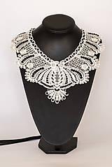 """Náhrdelníky - čipkovaný náhrdelník black & white – """"white day"""" - 7892292_"""