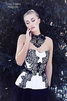 """Náhrdelníky - čipkovaný náhrdelník black & white – """"black day"""" - 7889681_"""