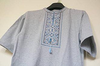 Oblečenie - vyšívané tričko Sivomodré vel.M - 7892655_