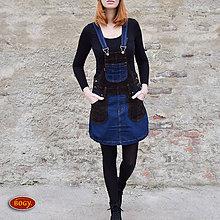Šaty - džínovomanšestrová sukně s laclem, i pro těhotné - 7891389_