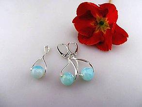 Sady šperkov - aquaachát náušnice , prívesok v striebre - 7893042_