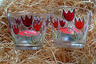 Svietidlá a sviečky - Svietnik na čajovú sviečku - červený tulipán - 7890513_