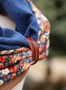 Šatky - Dámsky ľanovo bavlnený nákrčník s koženým remienkom - 7892859_
