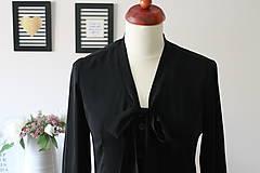 Košele - Čierna košeľa s viazačkou - 7888810_