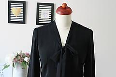 Košele - Čierna košeľa s viazačkou - 7888812_