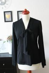 Košele - Čierna košeľa s viazačkou - 7888813_