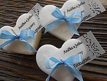 Svadobné sviečky s ozdobnou kartičkou/modrá stužka
