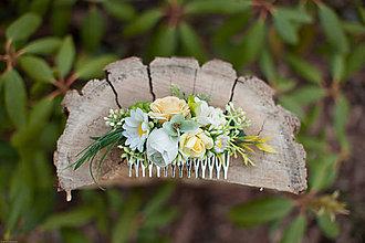 Ozdoby do vlasov - Kvetinkový hrebienok - 7893072_