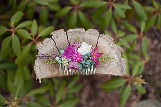 Ozdoby do vlasov - Kvetinkový hrebienok - 7893088_