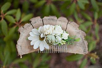 Ozdoby do vlasov - Kvetinkový hrebienok - 7893097_