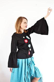 Tehotenské oblečenie - Vyšívaný top s atypickými rukávmi vol. 2 - 7889023_