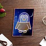 Grafika - Grafické vianočné svietidlo tučniak - kabát - 7889754_