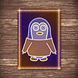 Grafika - Grafické vianočné svietidlo tučniak - kabát - 7889757_