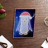 Grafika - Grafické vianočné svietidlo tučniak - v čiapke - 7890986_