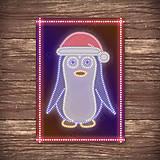 Grafika - Grafické vianočné svietidlo tučniak - v čiapke - 7890988_