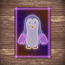 Grafika - Grafické vianočné svietidlo tučniak - rukavice - 7892058_