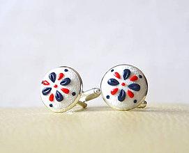 Šperky - Folk manžetové gombíky - bielo-modro-červené - 7897239_
