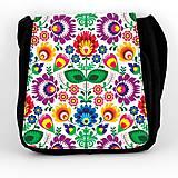 Iné tašky - Taška na plece L farebné kvety folk 2 - 7893668_