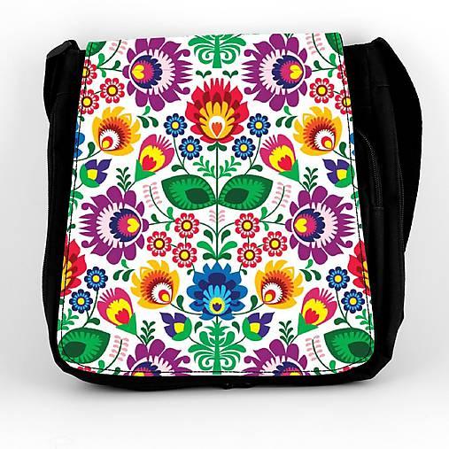 Taška na plece L farebné kvety folk 2