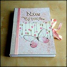 Papiernictvo - Ručne šitý denník/notes/zápisník/diár/náčrtník/skicár ,,Butterfly dream\