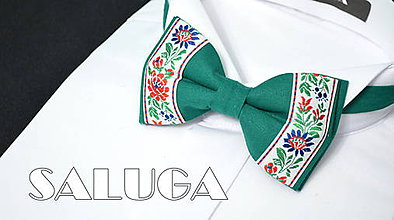 Doplnky - Folklórny pánsky zelený motýlik - folkový - ľudový - 7897508_
