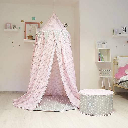 Textil - Ružovo sivý baldachýn s podložkou - 7894569_