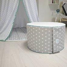 Textil - Mentolkovo sivá taburetka - 7895214_