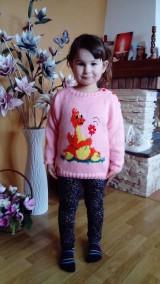 Detské oblečenie - Detský pulovrík : DINO s kvietkom - 7896234_