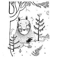 Grafika - Líščí Yeti a jeho jelenie deti - 7895188_