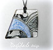Náhrdelníky - maľovaný sklenený šperk - modro-čierna elegancia - 7895845_