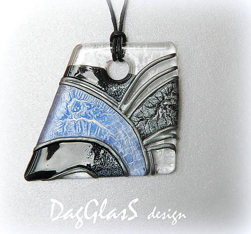 maľovaný sklenený šperk - modro-čierna elegancia