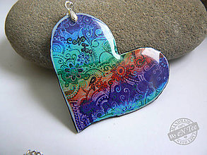 Náhrdelníky - Rainbow srdce trochu inak  - prívesok - 7896487_