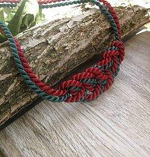Náhrdelníky - Uzlový náhrdelník z dvoch šnúr (zeleno bordový č.791) - 7896827_