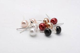 Náušnice - náušnice perličky (Čierna) - 7897169_