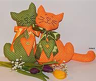 - Mačičky do okna - oranžová a zelená - 7897196_