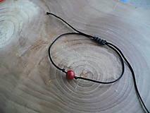- jednoduchý šnúrkový náramok čierny s Koralom - 7894608_