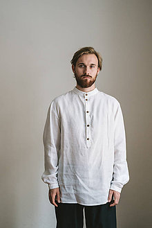 Košele - linen shirt for him - 7894198_