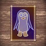 Grafika - Grafické vianočné svietidlo tučniak - v čižmách - 7895751_