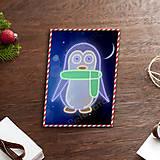 Grafika - Grafické vianočné svietidlo tučniak - šál - 7897619_